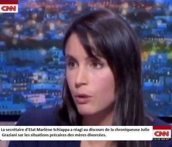 La secrétaire d'Etat Marlène Schiappa a réagi au discours de la chroniqueuse Julie Graziani sur les situations précaires des mères divorcées.