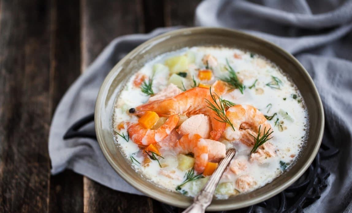 Blanquette de crevettes et saumon