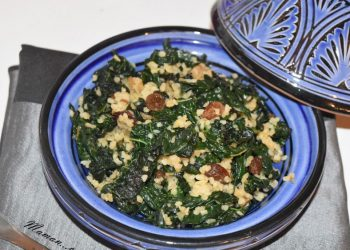 Poêlée de chou kalé, boulghour et raisins secs