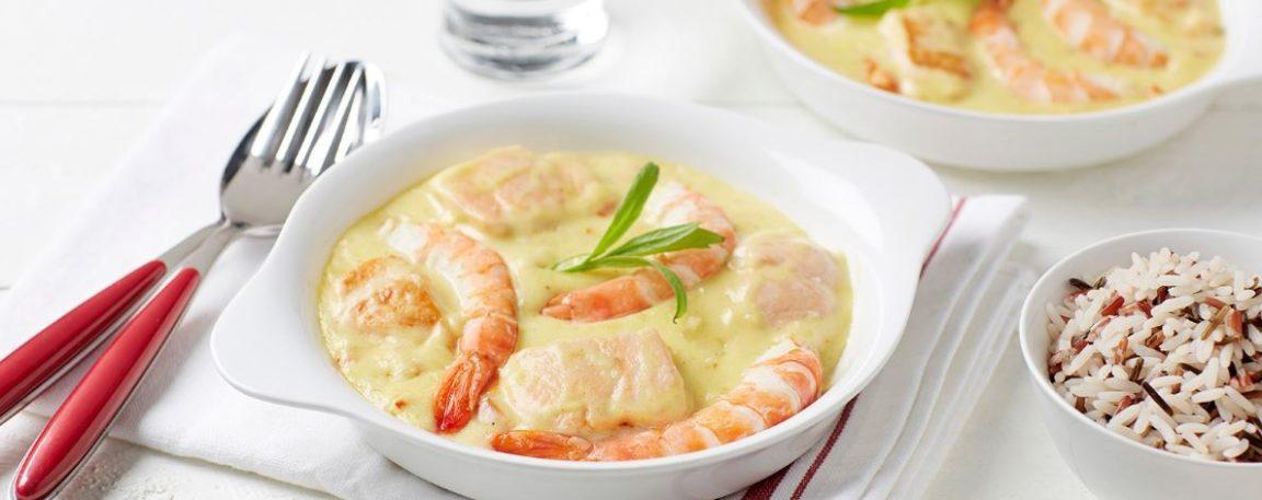 Ragoût de la mer aux crevettes, saumon & riz sauvage
