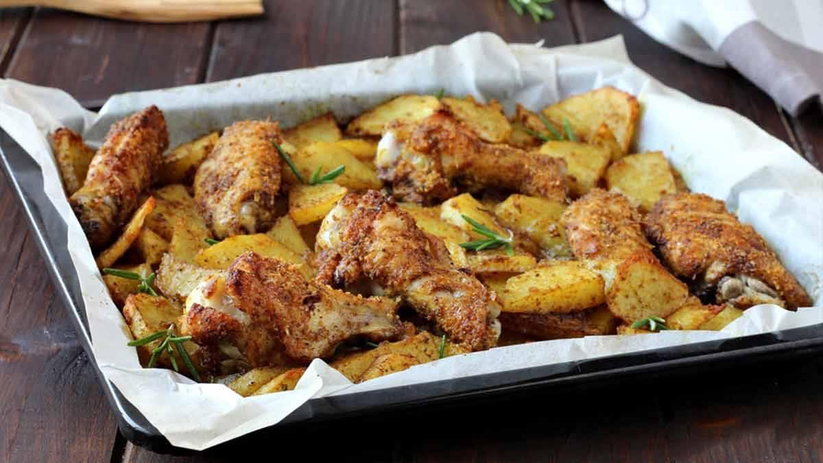 Succulents poulets et pommes de terre gratinés