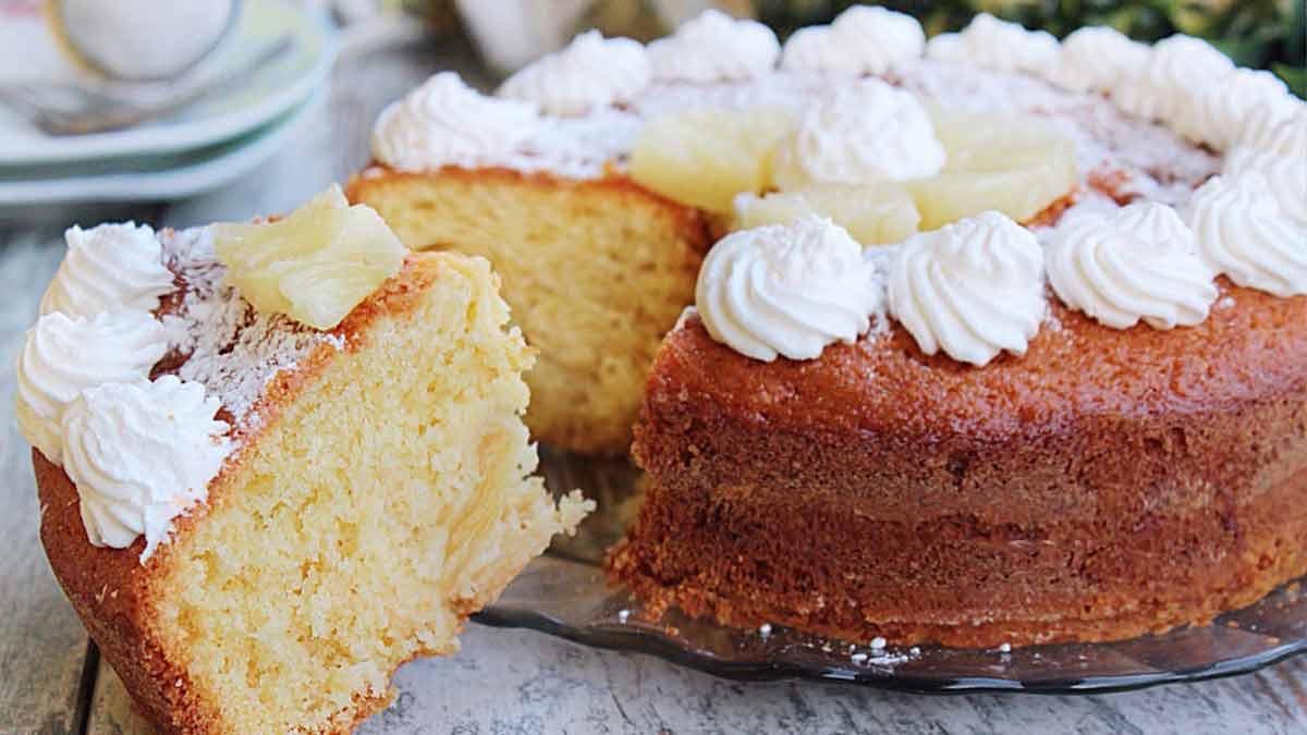 Magnifique gâteau sans beurre aux ananas