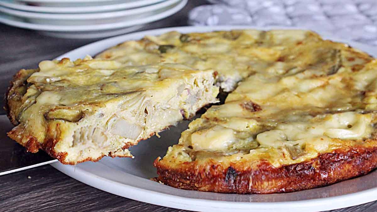 Omelette aux artichauts et au fromage