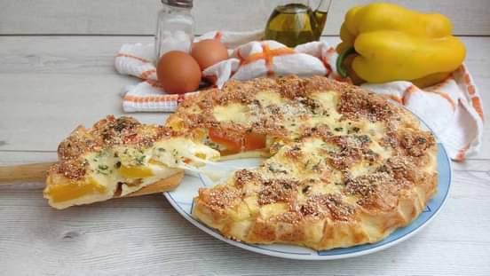 Omelette aux poivrons et à la mozzarella