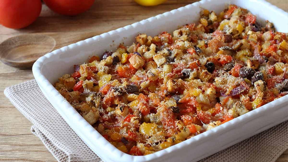 Poivrons et aubergines cuits au four