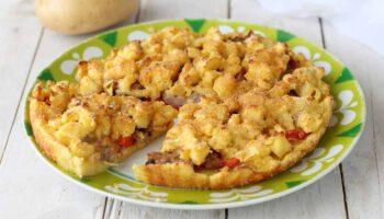 Pommes de terre émiettées farcies aux poivrons