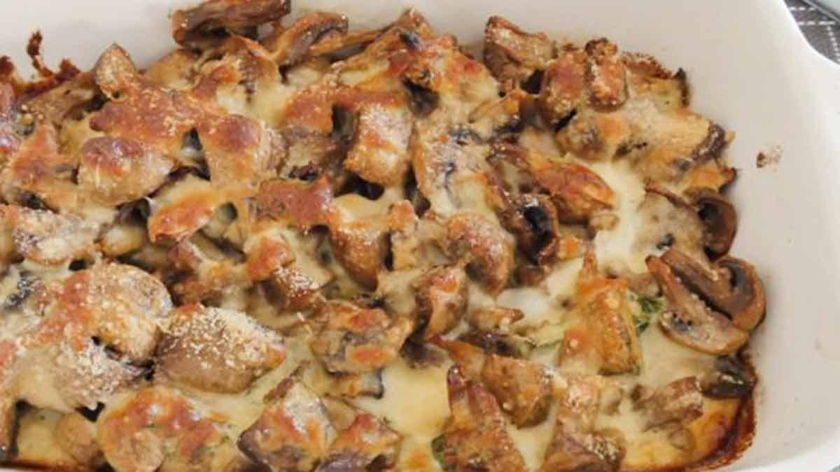 Savoureux champignons gratinés au parmesan