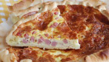 Succulente quiche au jambon cuit et à la mozzarella