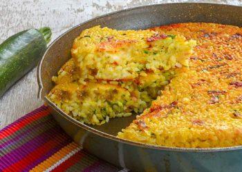 Tarte de riz poêlé aux courgettes