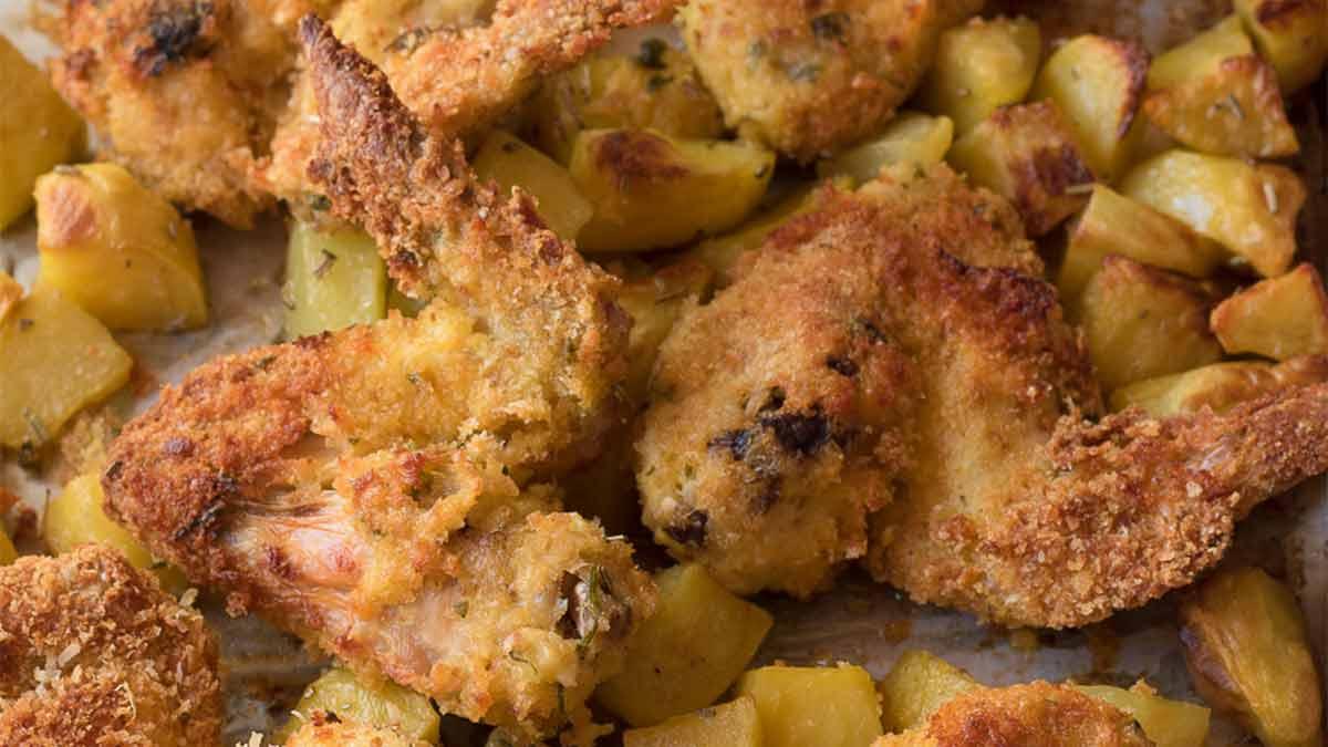 ailes de poulet croustillantes aux pommes de terre
