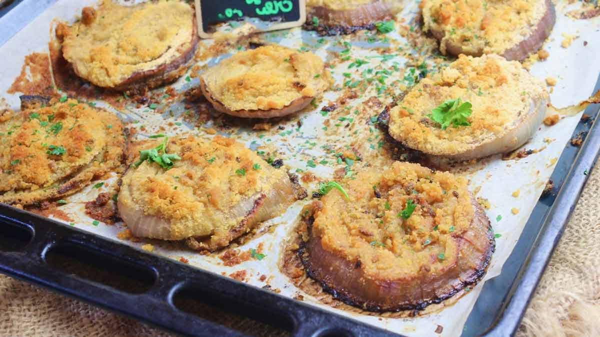 escalopes d'oignons cuites au four