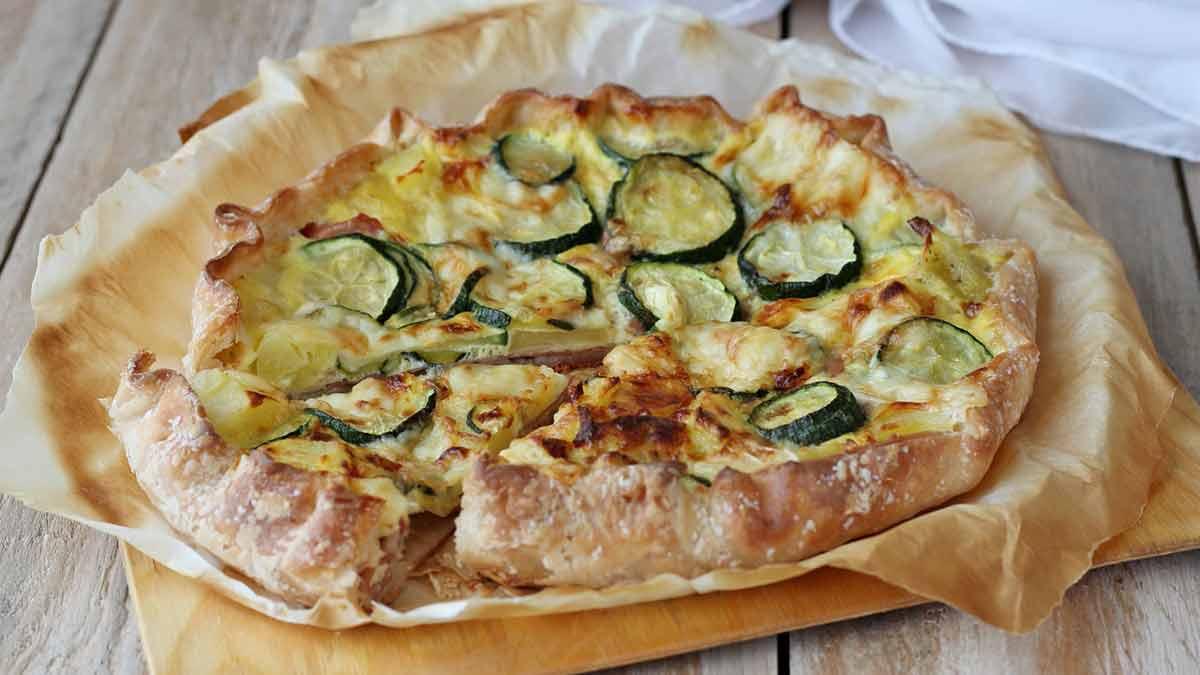 tarte rustique aux courgettes et au jambon