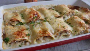 Succulentes lasagnes roulées au jambon et champignons