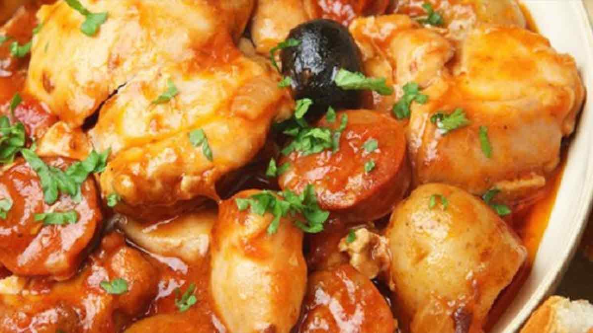Poulet sauté au chorizo olives