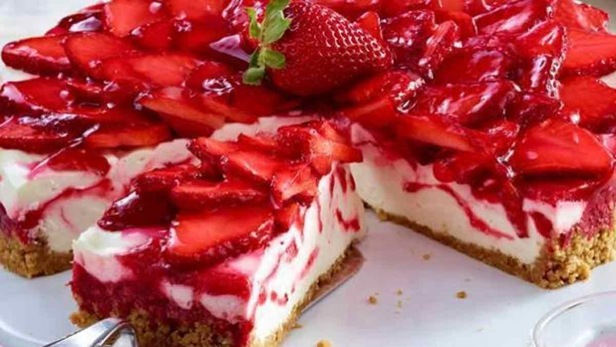 Succulent cheesecake aux fraises