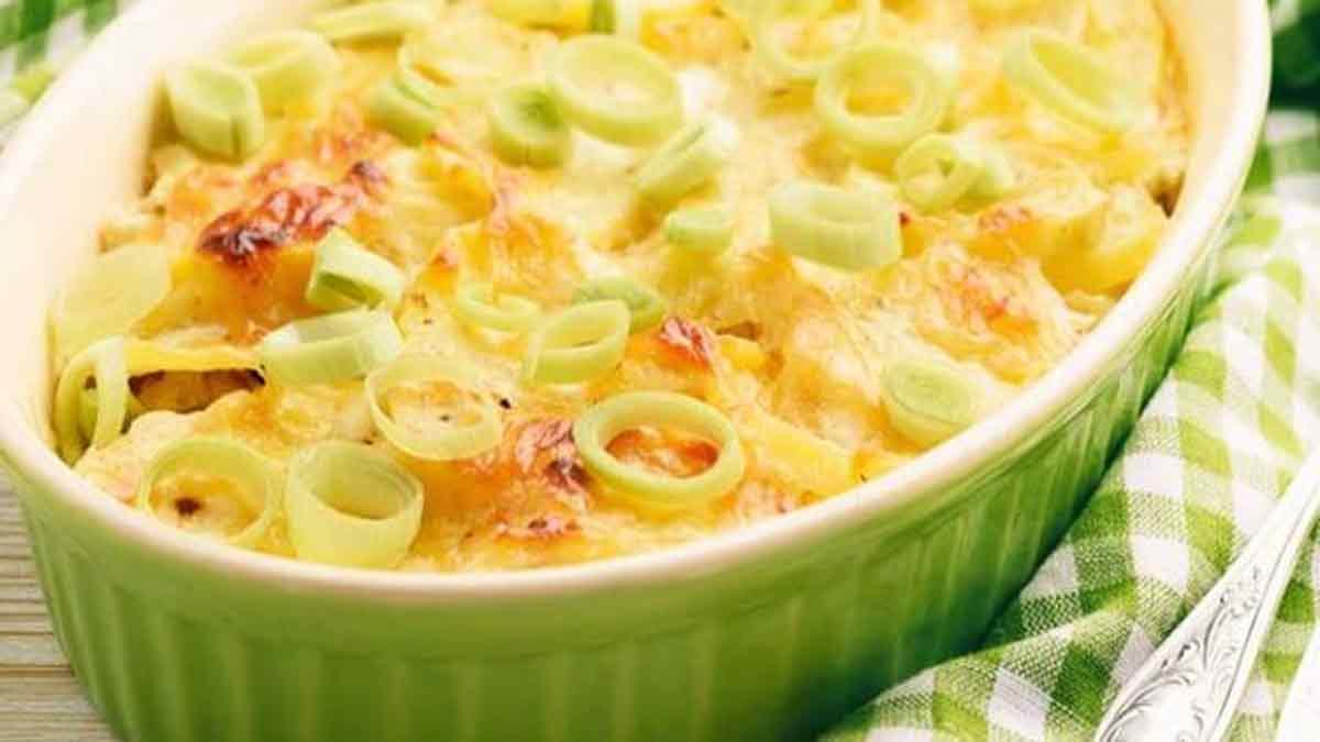 gratin de poireaux au fromage et jambon