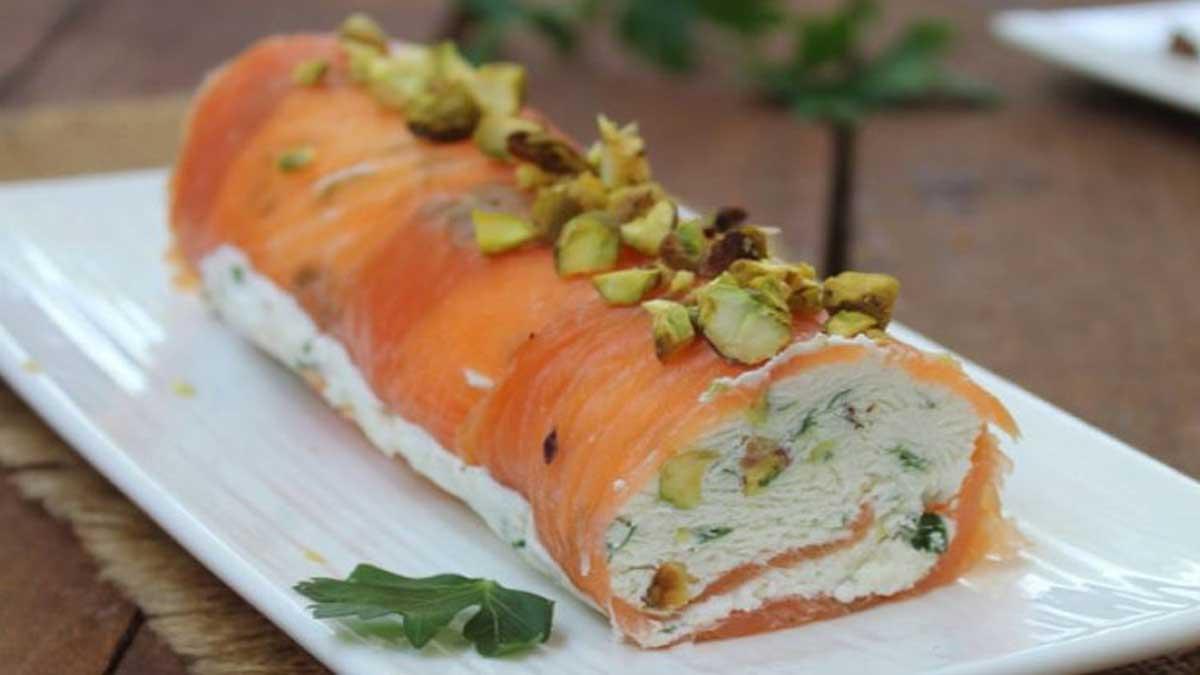 Fabuleux rouleau au saumon et à la pistache