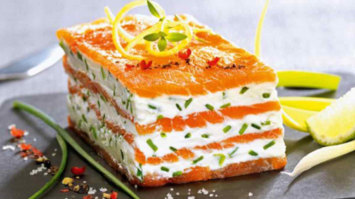 Mille-feuille de saumon fumé au mascarpone