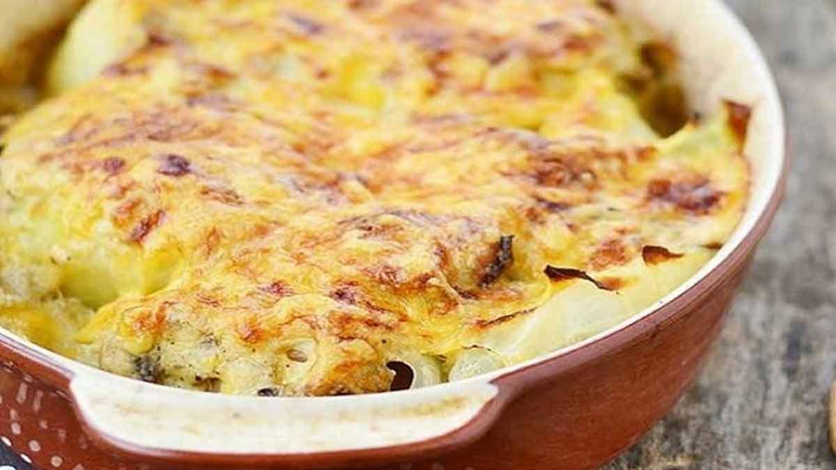Pommes de terre et crevettes gratinées