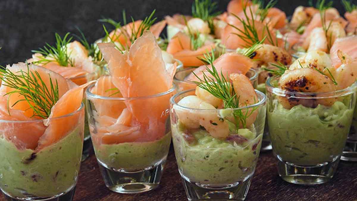 Savoureuses terrines de crabe saumon et crevettes