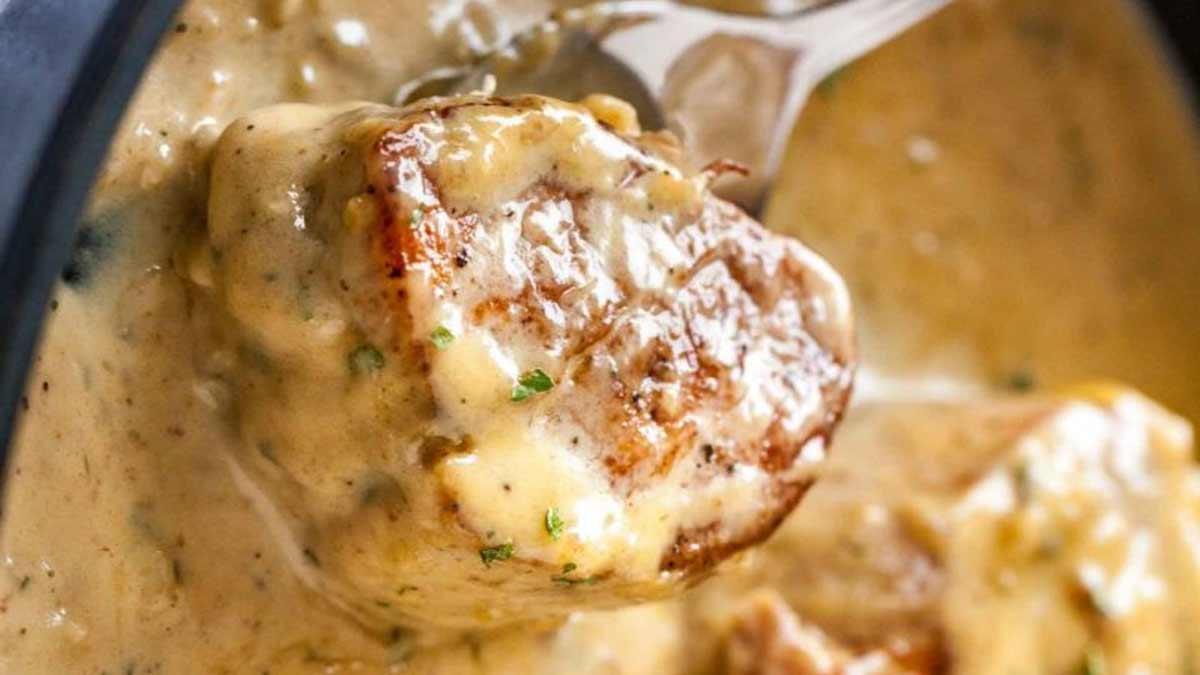 Savoureux rôti de porc sauce camembert