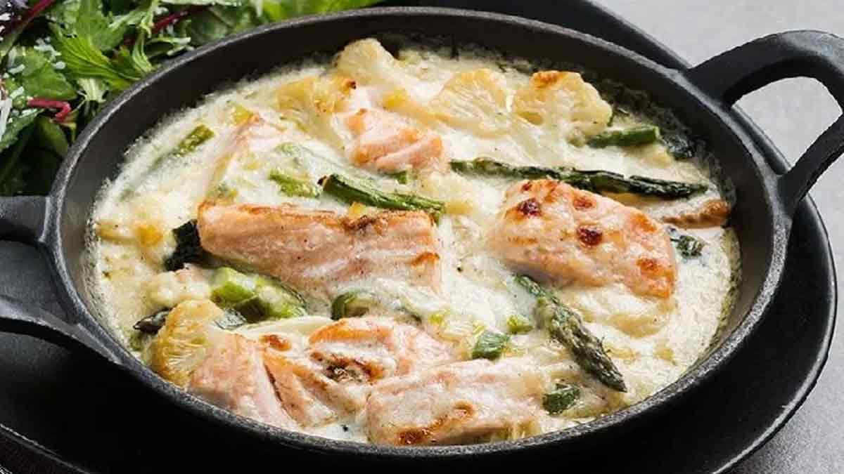 gratin de saumon et asperges au parmesan