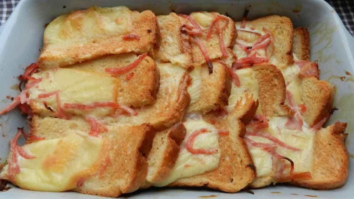 pain perdu salé jambon et raclette