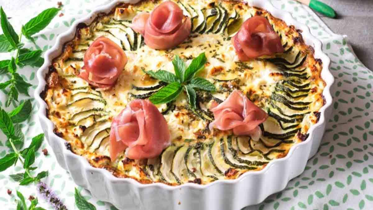 Exquis clafoutis aux courgettes jambon cru et fromage frais