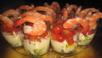 Sublimes verrines de crevettes et fromage blanc