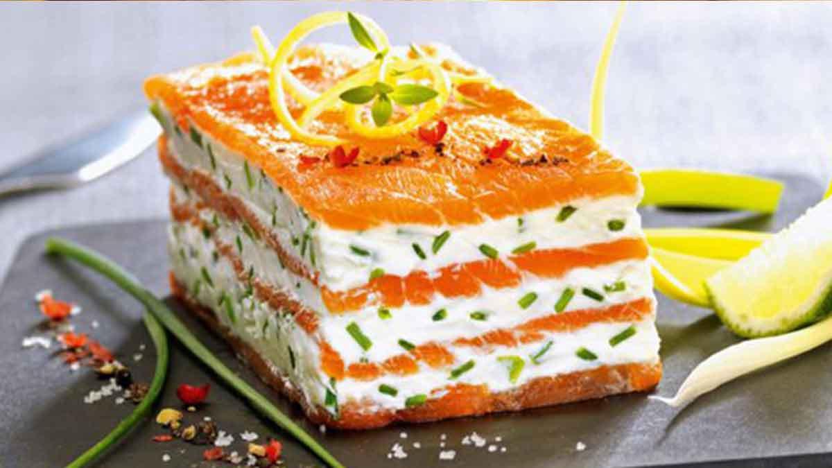 Succulent mille-feuille de saumon fumé au mascarpone citronné