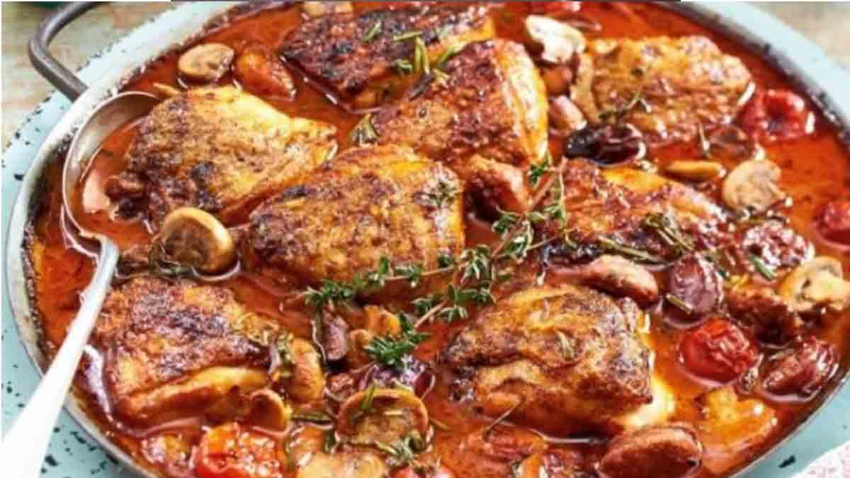 Succulent poulet aux champignons
