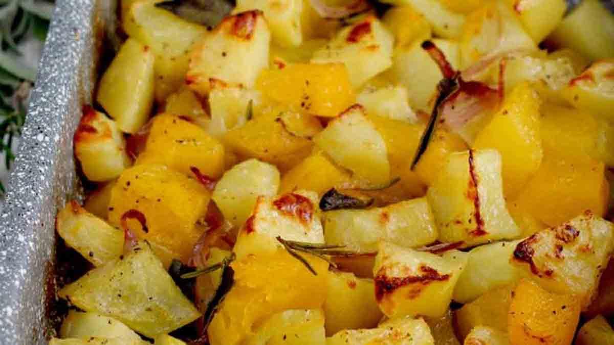 pommes de terre au potiron et oignon