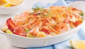 délicieux gratin de fruits de mer aux champignons