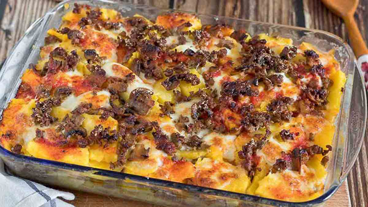 gratin de polenta à la viande hachée