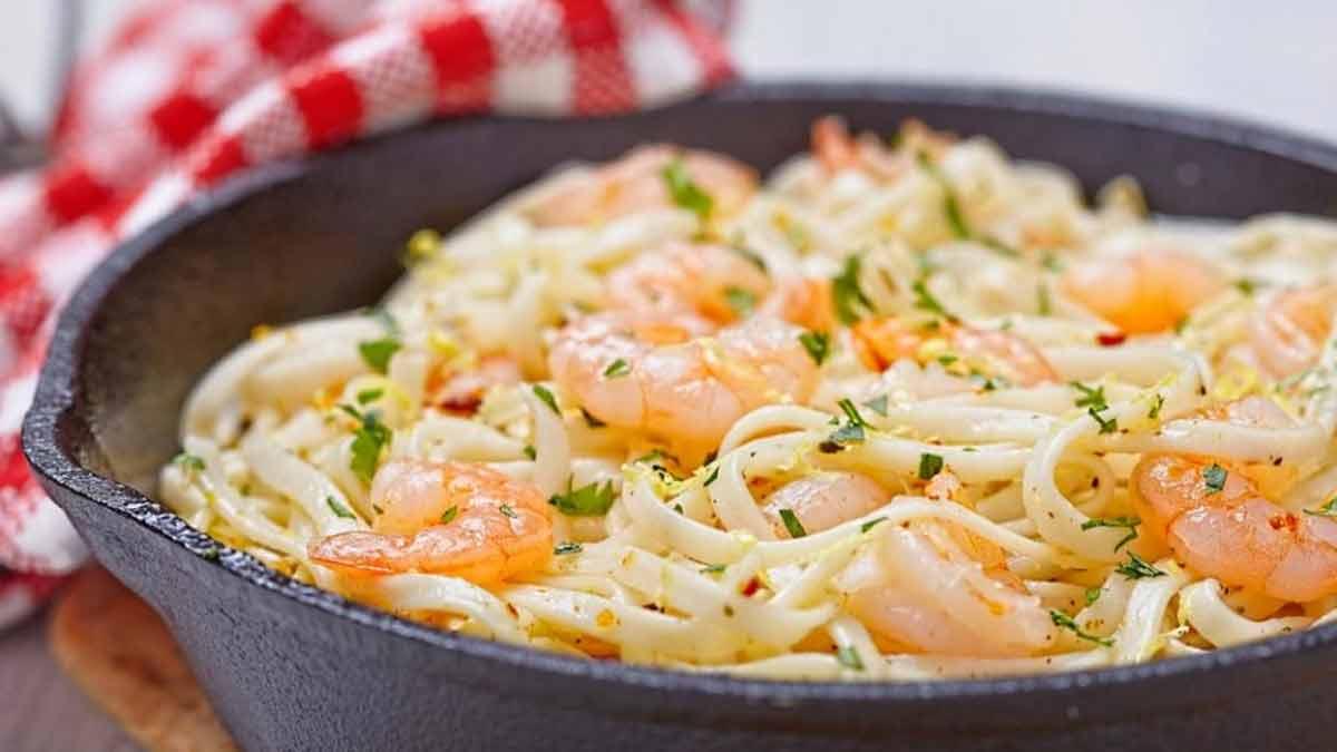 spaghettis aux crevettes avec ail