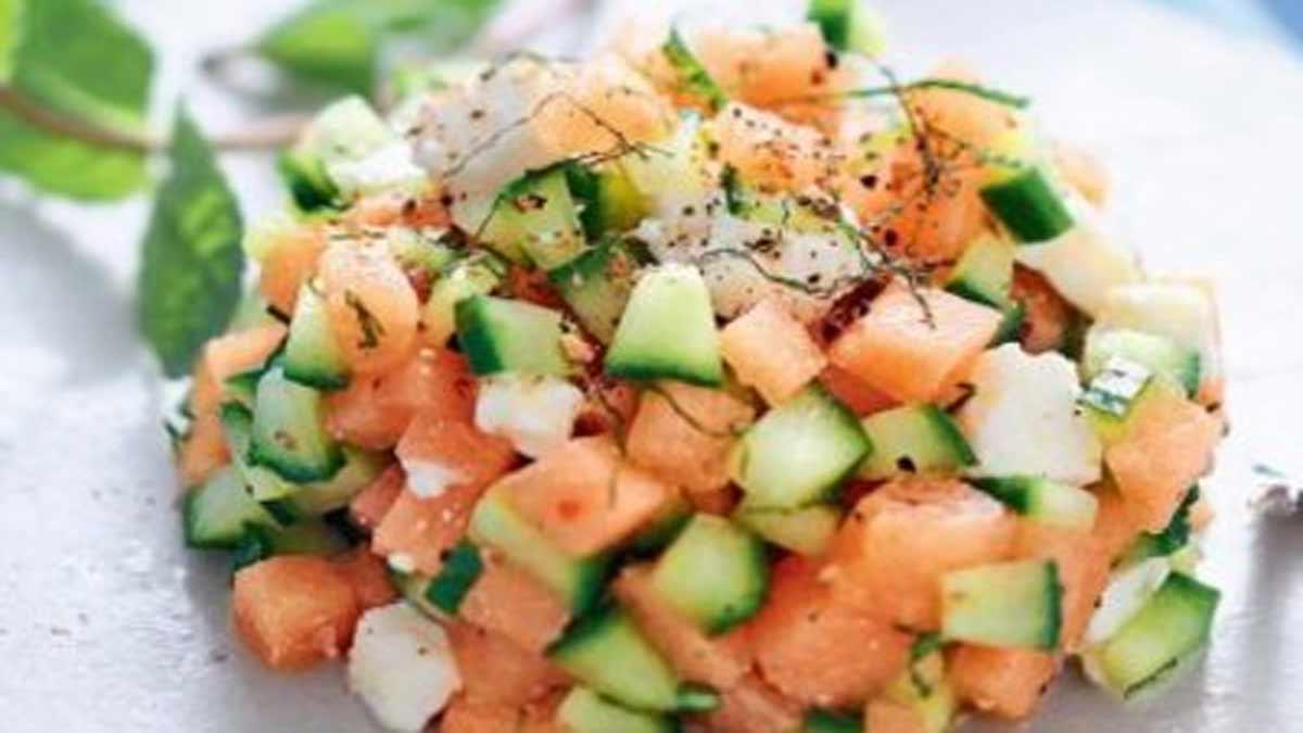 Carpaccio léger au melon-concombre