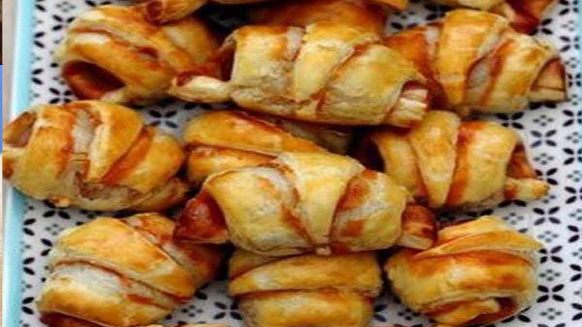 Croustillants croissants fourrés aux saucisses