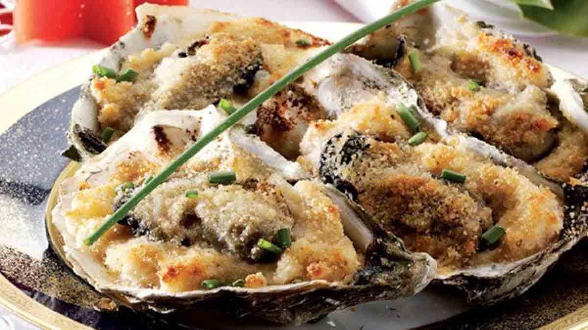 Délicieuses huîtres gratinées