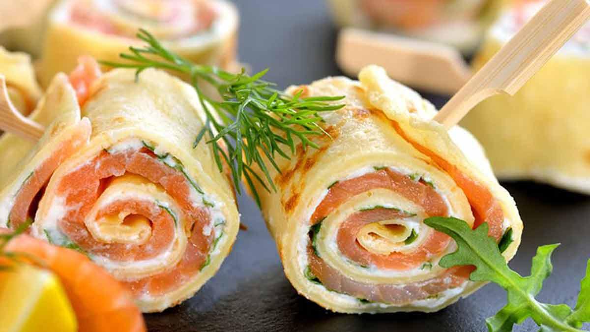 Exquis roulés de saumon et fromage