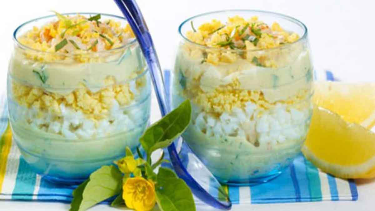 Exquis œufs mimosa à la mayonnaise et au crabe