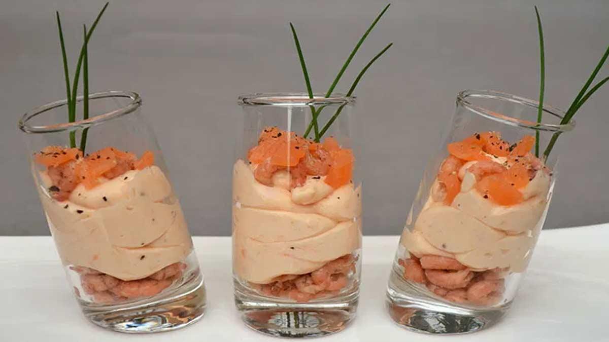 Exquises verrines de mousse de fruits de mer