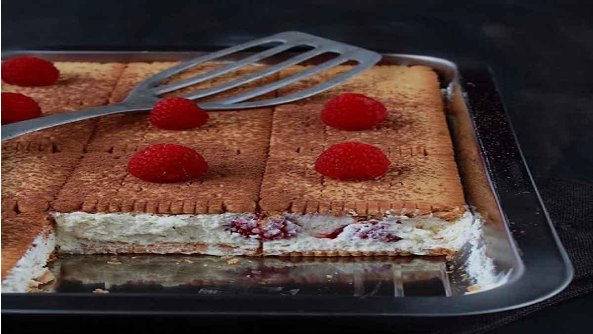 Simplissime gâteau de petits-beurre aux framboises