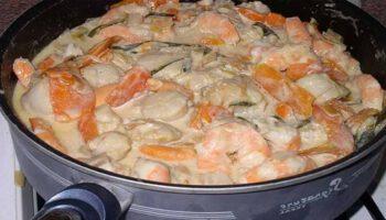 Fricassée de Saint-Jacques et crevettes