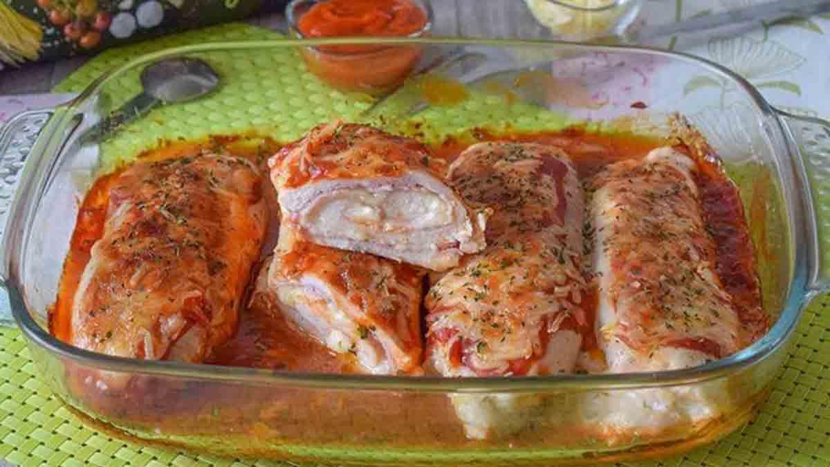 poulet farci au jambon et fromage