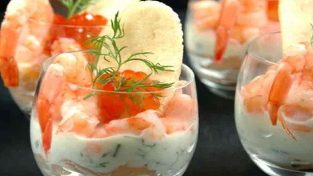 Alléchantes verrines au saumon et aux crevettes