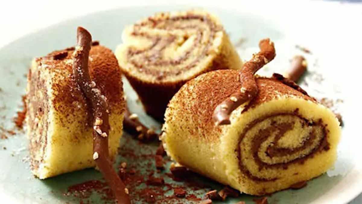 Délicieux gâteau roulé garni de Nutella