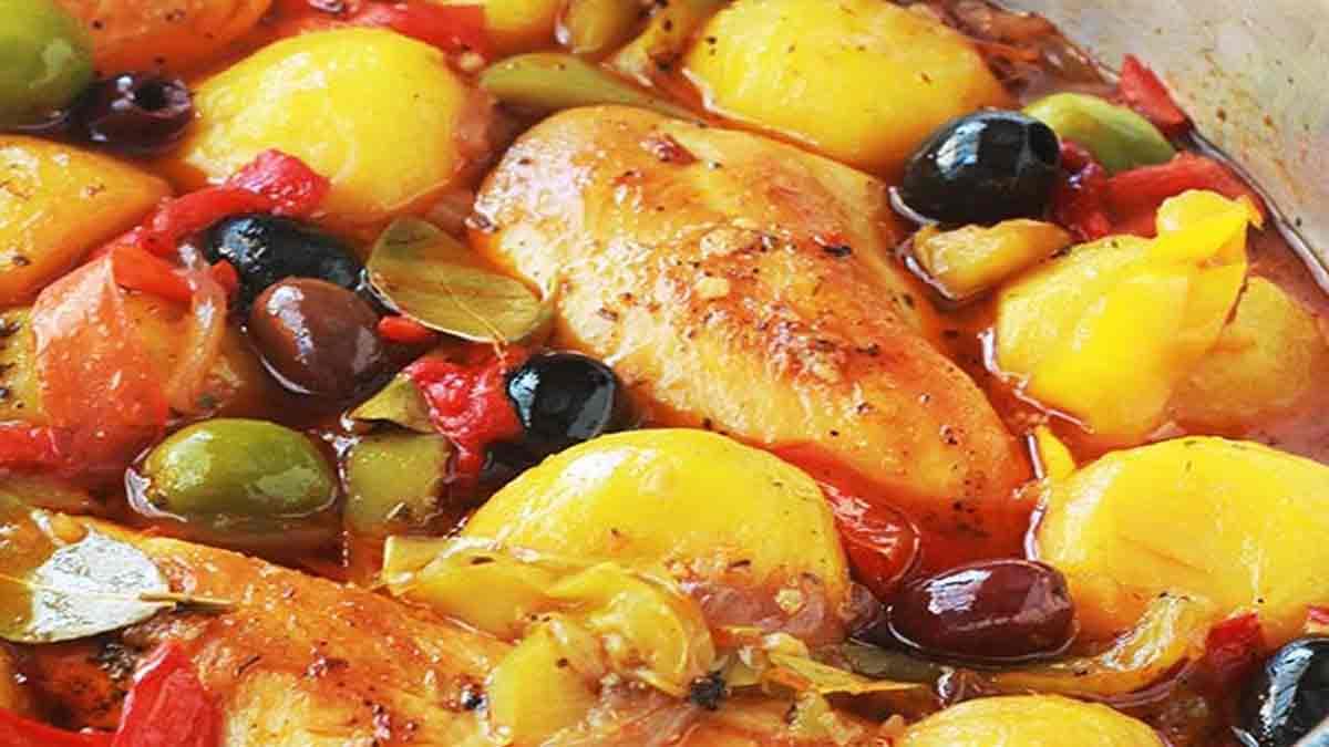 Poulet aux poivrons pommes de terre oignons