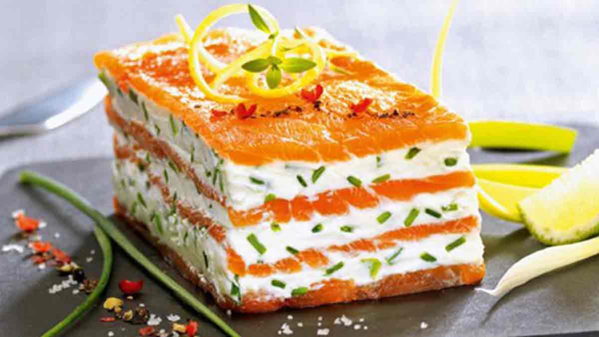 Savoureux mille-feuille de saumon fumé au mascarpone