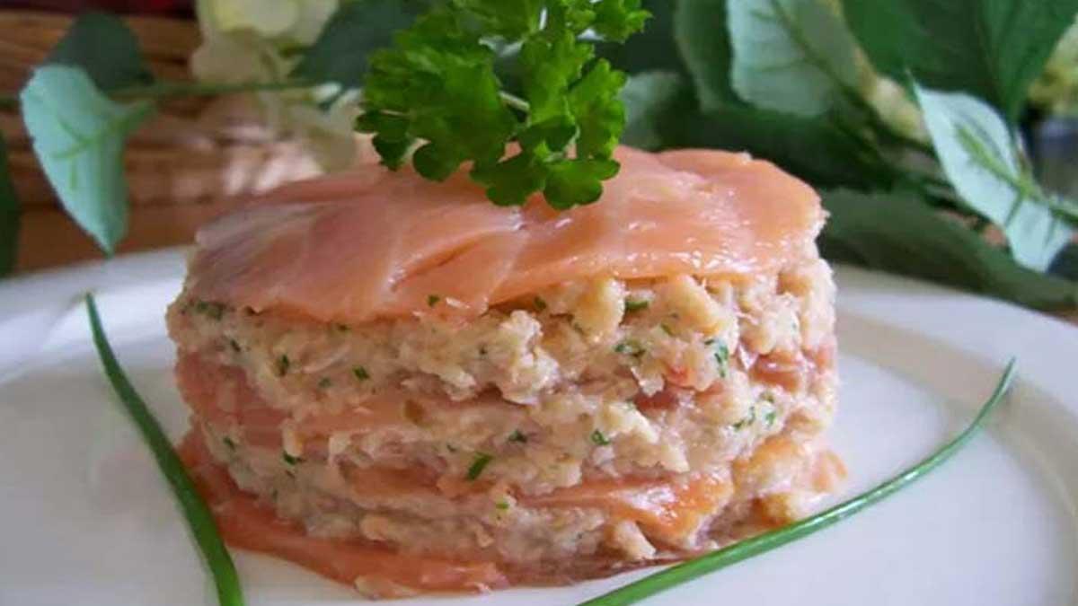 Sensationnel mille-feuille de saumon et crabe