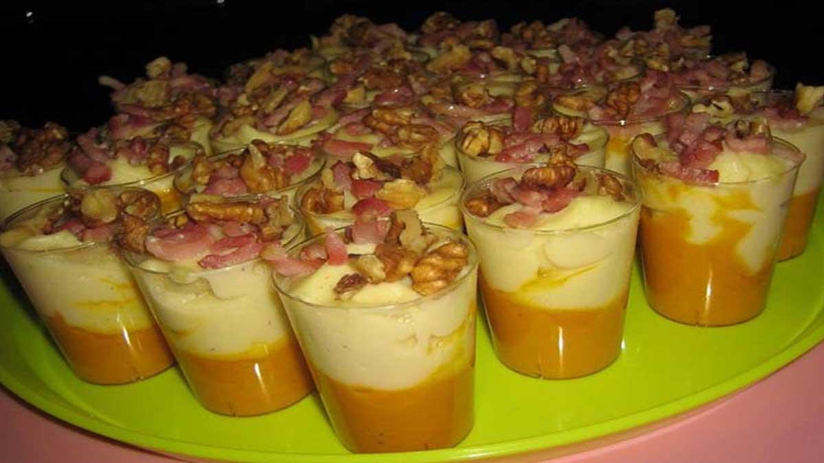 Verrines apéro à la crème de panais carotte